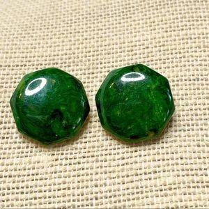Bakelite earrings post green creamed spinach